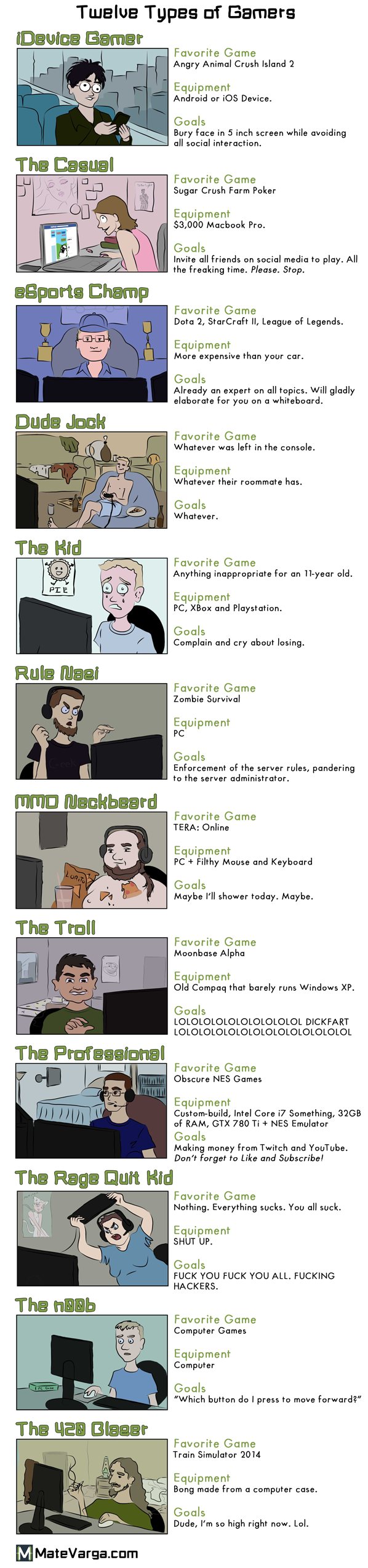 12 Types of Gamers